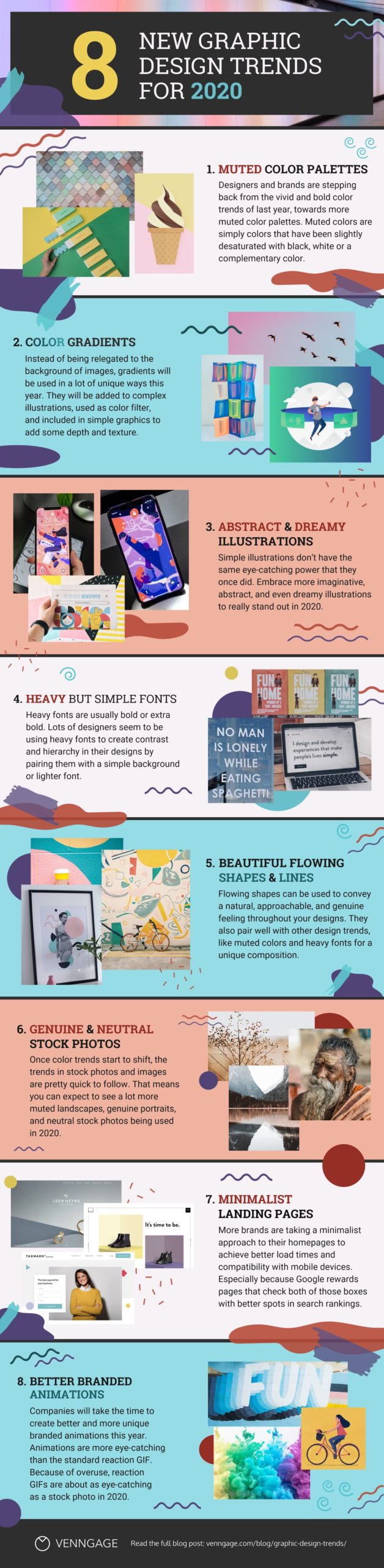 8 Biggest Graphic Design Trends for 2020 Infographic Image