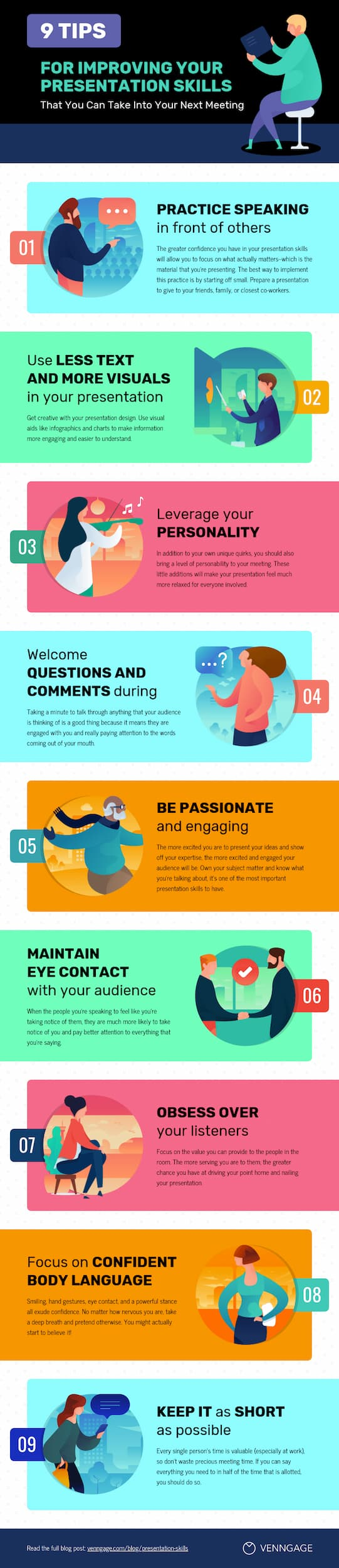 9 Tips for Improving your Presentation Skills Infographic